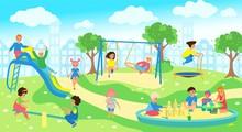 Children At Playground In City...