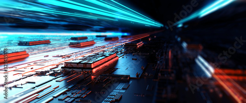 Fototapeta Futuristic server/Abstract background circuit board futuristic server. Can be used as digital dynamic wallpaper, technology background. 3d rendering obraz