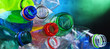 canvas print picture - Empty colored carbonated drink bottles. Plastic waste