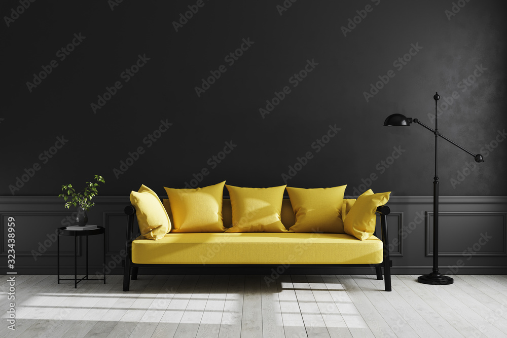 Fototapeta Luxury dark living room interior background, black empty wall mock up, living room mock up, modern living room with yellow sofa and black lamp and table, scandinavian style, 3d rendering