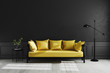 Luxury dark living room interior background, black empty wall mock up, living room mock up, modern living room with yellow sofa and black lamp and table, scandinavian style, 3d rendering