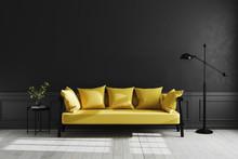 Luxury Dark Living Room Interi...