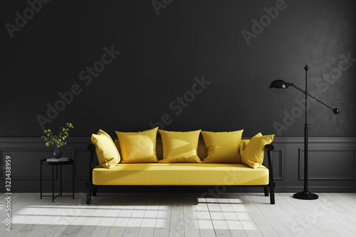 Obraz Luxury dark living room interior background, black empty wall mock up, living room mock up, modern living room with yellow sofa and black lamp and table, scandinavian style, 3d rendering - fototapety do salonu