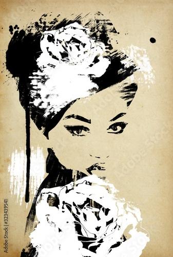 Fototapeta reprodukcje  kobieta-mody-w-stylu-vintage