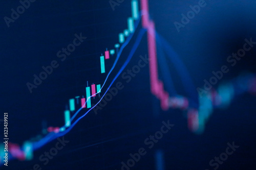 Foto Stock exchange market chart, Stock market data on LED display