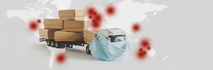 Coronavirus nCoV Chinese infection Danger business of trucking, delivering cargo around world car in mask protection against Virus world map with location China, virus epidemic China Coronavirus