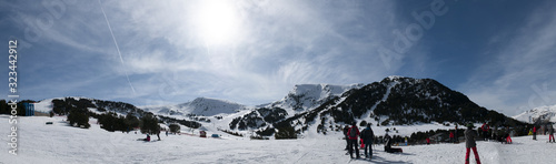panorama of ski resort in Andorra above the valley of el tarter with snowpark in Tapéta, Fotótapéta
