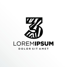 Initial Number 3 Zebra Logo Design