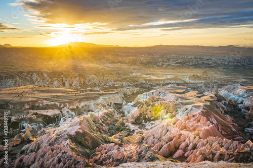 Aerial view down to rose valley with a sunset over the horizon Canvas Print