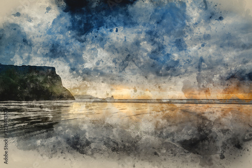 Wallpaper Mural Digital watercolor painting of Landscape image of old shipwreck on beach at suns