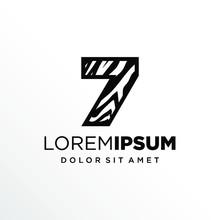 Initial Number 7 Zebra Logo Design