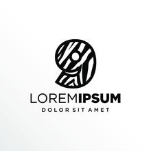 Initial Number 9 Zebra Logo Design