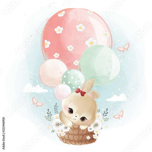 Carta da parati Cute Little Bunny Flying with Balloons