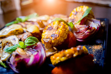 Tasty Grilled Vegetables On Bi...