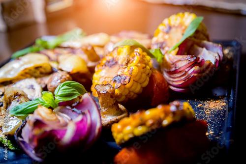 Fototapeta Tasty grilled vegetables on big plate. Healthy food. Restaurant. obraz