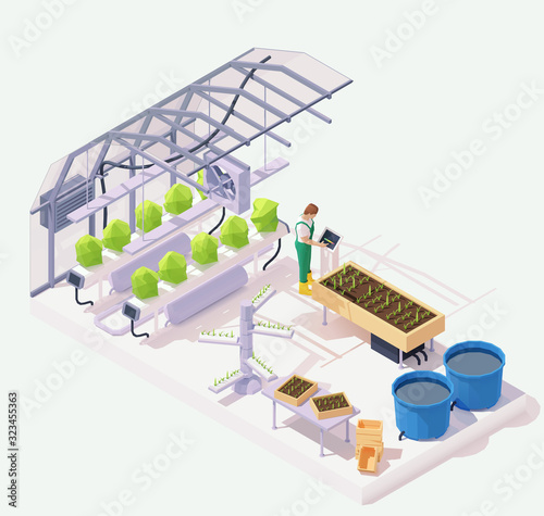 Valokuva Vector isometric modern agricultural greenhouse cross-section illustration
