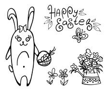 Doodle Easter Bunny With Baske...