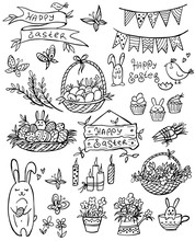 Set Of Doodle Easter Elemetns Isolated On White. Basket With Colored Eggs, Rabbit, Carrots, Flower, Cake, Candle, Chick. Vector Illustration. Perfect For Coloring Book, Greeting Card, Print.