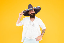 Mexican Energy. Celebrate Traditional Holiday. Cinco De Mayo. Mexican Day Of Dead. 5th Of May. Lets Have Fun. Celebrating Fiesta. Happy Man In Mexican Sombrero Hat. Mexican Energetic Temper