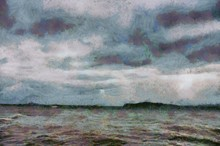 The Harbor At The Time Of Rain Is Falling Illustrations Creates An Impressionist Style Of Painting.