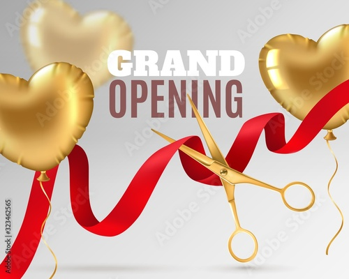 Obraz Grand opening. Luxury festive invitation, scissors cut red silk ribbon, ceremony opening banner design or promotion flyer vector background - fototapety do salonu