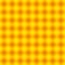 Yellow And Orange Check Pattern, Square Seamless Tile. Also Called Checker Or Chequer. Step Pattern, A Texture Used For Textiles. Horizontal And Vertical Lines Forming Squares. Illustration. Vector.