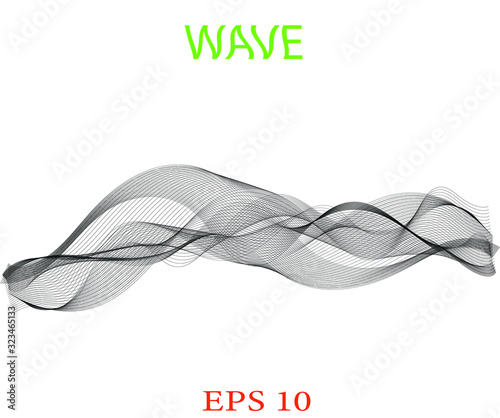Fototapety, obrazy: Wave of the black lines. Abstract wavy stripes. Transparent background. High resolution.