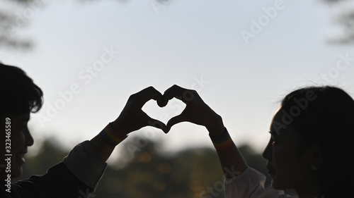 Photo Silhouette image of young LGBT lesbian couple making a heart sign by hands while standing together at natural outdoor/parks with blurred forest and evening sky as background