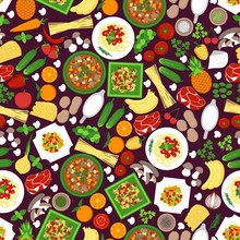 Food Seamless Pattern Vector Illustration. Background With Vegetables And Fruits For Wallpaper, Print Design Or Restaurant Decor, Menu. Cheese, Tomato, Meet, Carrot And Cucumber With Pasta Meal, Soup.