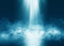 Dark Blue Abstract Futuristic Background. Laser Neon Rays. Neon Light, Reflection On The Asphalt, Smoke, Smog