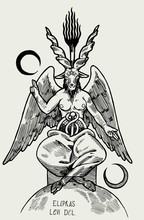 Baphomet Demon. Satan Goat. Occult Symbol From The Tarot Cards Realistic Vintage Vector Illustration.