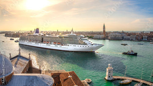 Cruise ship in venice, italy Canvas Print