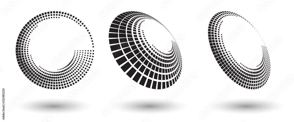 Fototapeta Halftone shapes, abstract dots logo emblem or design element for any project. Abstract dotted halftone vector with differents perspective