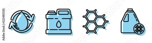 Set line Chemical formula consisting of benzene rings, Oil drop, Canister for motor machine oil and Antifreeze canister icon Wallpaper Mural