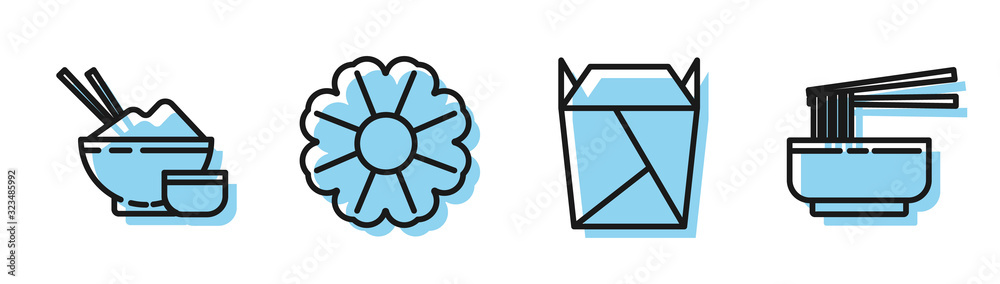 Fototapeta Set line Rstaurant opened take out box filled, Rice in a bowl with chopstick, Flower and Asian noodles in bowl and chopsticks icon. Vector