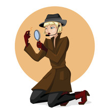 Cartoon Color Character Person Detective Woman Concept. Vector