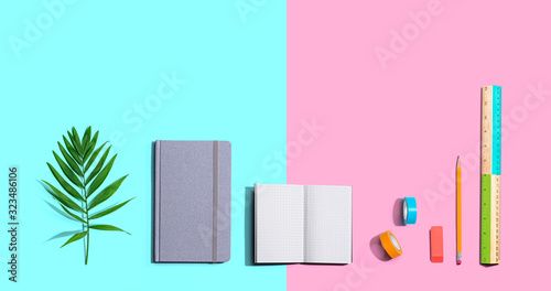 School and office stationery supplies from above