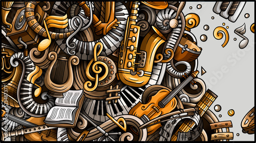 Classic Music hand drawn doodle banner. Cartoon detailed flyer.
