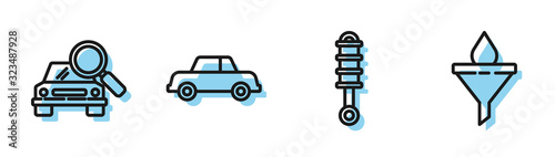 Photo Set line Shock absorber, Car search, Car and Funnel or filter and motor oil drop icon