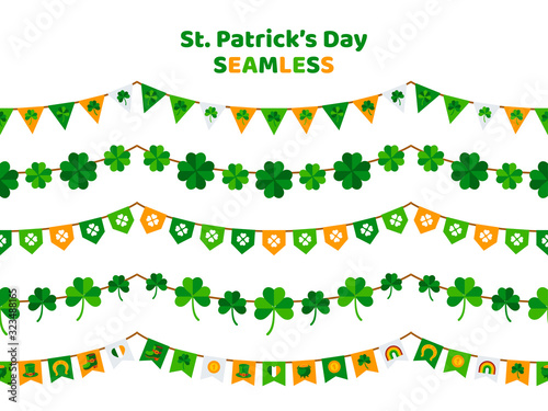 obraz lub plakat St. Patrick's Day bunting set isolated on white background. Pub party decorations, seamless borders. Eat, Drink and Be Irish