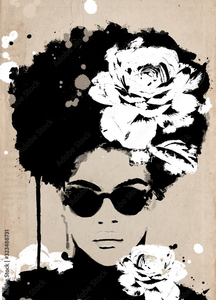 African woman portrait with big black afro hair