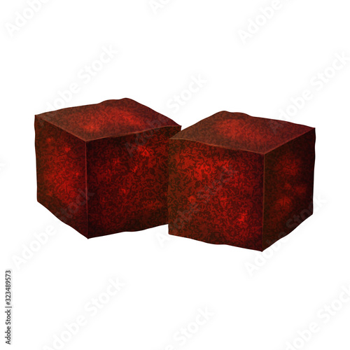 Realistic 3d Detailed Charcoal Cubes for Hookah Pipe. Vector Canvas-taulu