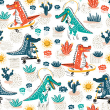 Cute Crocodile Seamless Pattern. Vector Background With Alligators. Cartoon Wild Animals Wallpaper