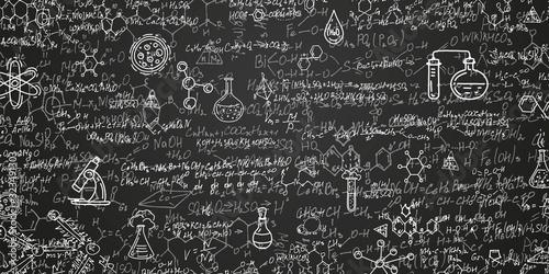 Obraz Chemical formulas on a black background .School writing board .Scientific research - vector . - fototapety do salonu