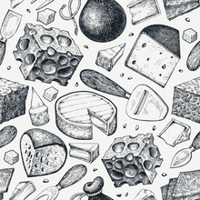 Cheese Seamless Pattern. Hand Drawn Vector Dairy Illustration. Engraved Style Different Cheese Kinds Banner. Vintage Food Background.