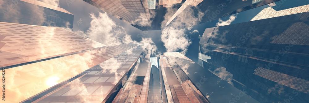 Fototapeta Beautiful skyscrapers against the sky, modern high-rise buildings bottom view, 3D rendering