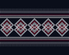 Geometric Ethnic Pattern Traditional Design On Dark Midnight Navy Background. Geometry Oriental Abstract Wallpaper For Handcraft, Carpet, Clothing, Fabric With Red, White Color. Vector Illustration