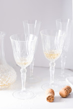Crystal Glasses With White Wine