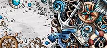 Nautical Hand Drawn Doodle Ban...