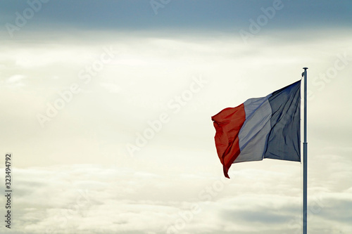 Fototapeta Liberté, fraternité et egalité sur le ciel, le drapeau de la France obraz